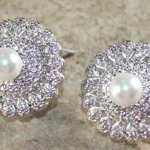 White Pearl & White Topaz CZ Earrings
